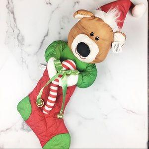 NWT Bear Stocking Door Hanger with Jingle Bells
